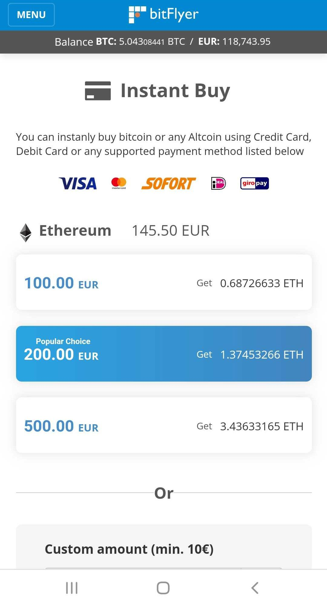 Buy Bitcoin and Altcoins instantly with