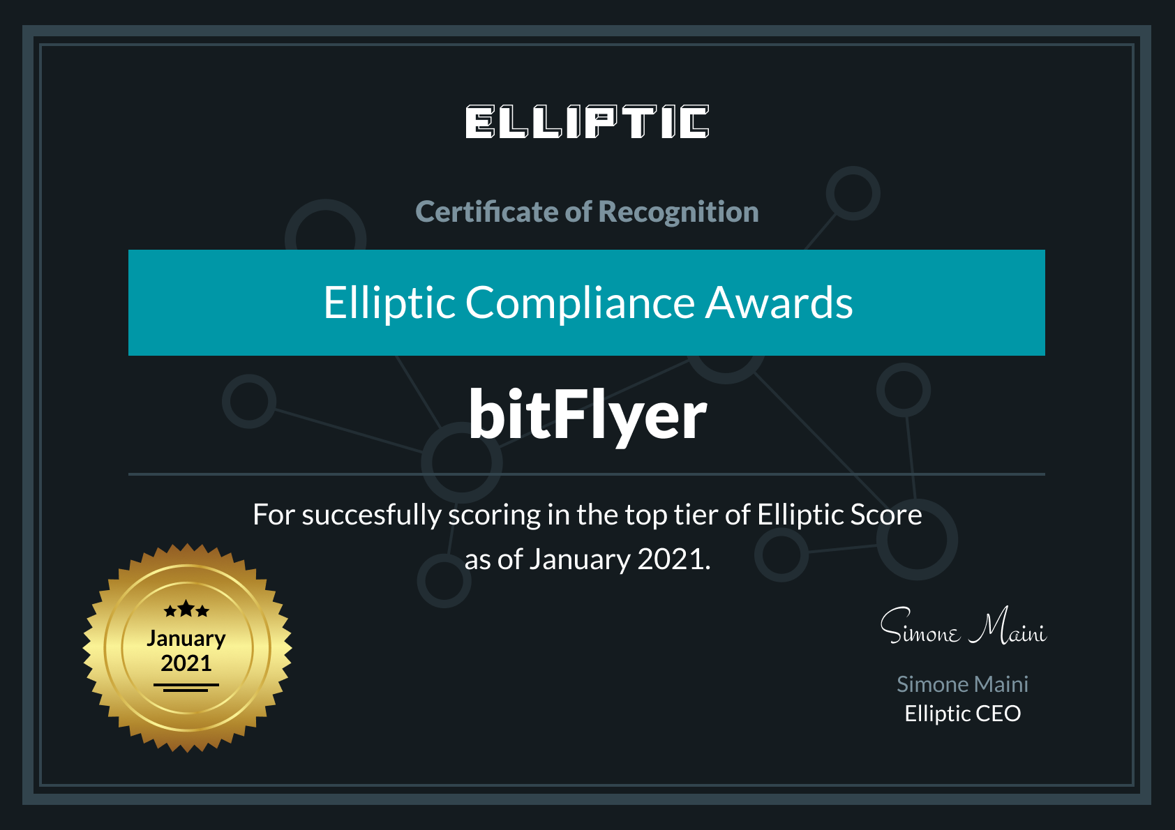 Elliptic recognizes bitFlyer for outstanding compliance for the second time in a row!